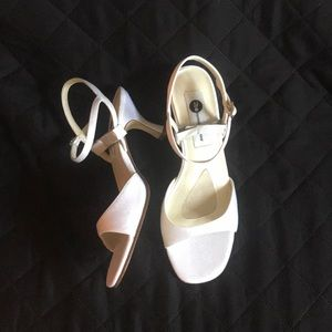 White crepe formal sandal